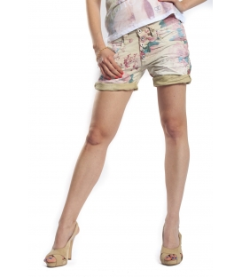 PLEASE shorts boyfriend baggy 5 buttons SASSO tinto old WHITE+3D P88ADL1HK NEW