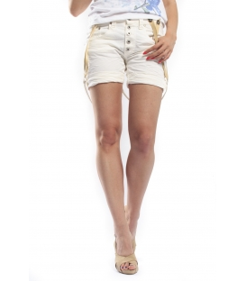 PLEASE shorts boyfriend baggy 5 buttons with braces WHITE OLD 3D P88DAV24U NEW