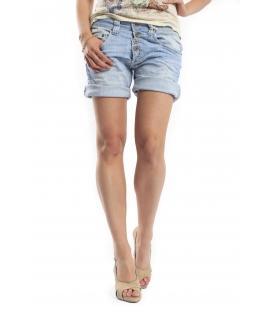 PLEASE shorts boyfriend baggy 5 buttons DENIM light elastic P88ADN90Q NEW