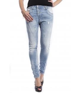 PLEASE jeans boyfriend baggy 3 buttons P78ABQ2NZ DENIM LIGHT WITH RIPS