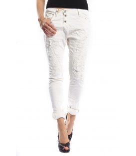 PLEASE jeans boyfriend baggy 3 buttons WHITE with rip P78AGV9V6