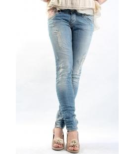 PLEASE jeans zip caviglia slim fit con strappi P35EBS02R CHIARO NEW lady