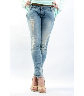 PLEASE jeans tasca taglio slim fit con strappi P09CBS02R CHIARO NEW lady