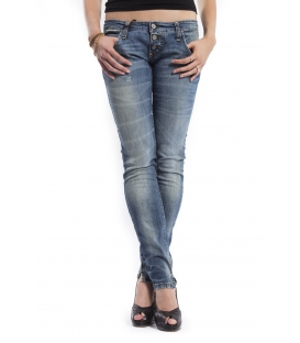PLEASE jeans slim fit 3 buttons DENIM with rips P83AAP86 NEW