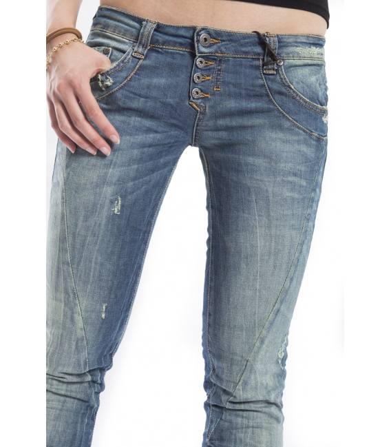 PLEASE jeans 4 buttons slim fit DARK DENIM with rips P68CBS04B NEW