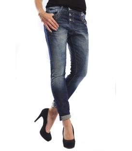 PLEASE jeans boyfriend baggy 3 buttons with studs DENIM P69HBQ2WQ NEW