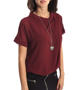Miss Miss by Valentina Shirt/Bluose + necklace 7700Q BORDEAUX new