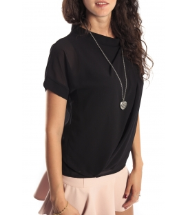 Miss Miss by Valentina Shirt/Bluose + necklace 7700Q BLACK new
