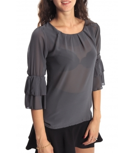 Miss Miss by Valentina Shirt/Bluose + necklace 1329 GREY new