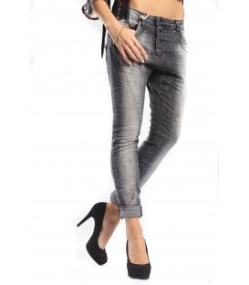 PLEASE jeans boyfriend baggy 3 buttons DENIM BLACK stonewash P78ADQ9TE NEW