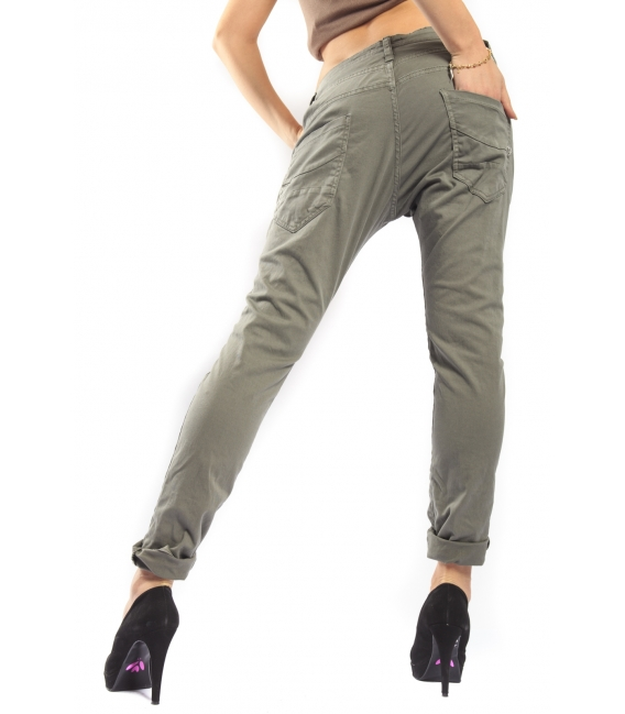 PLEASE jeans boyfriend baggy 3 buttons COLOR P78 NEW GREEN new fabric 14-15