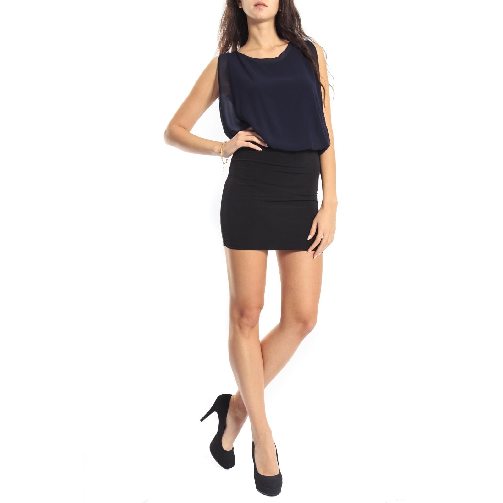 Dress Bicolor By Abito Miss 395615 New Valentina Blu 2EIHD9