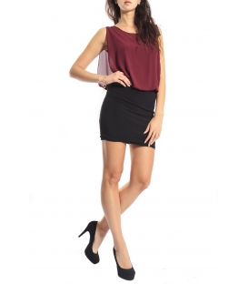 Miss Miss by Valentina Abito dress bicolor 3956/15 BORDEAUX new