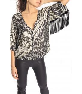 PLEASE shirt/blouse con frange e bottoni PANNA C908HI90 NEW