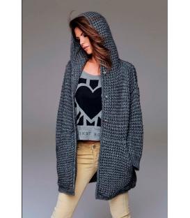 DENNY ROSE Cappotto in lana con bottoni GRIGIO 51DR51034 FALL/WINTER 14-15 NEW