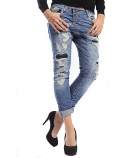 PLEASE jeans P78ABQ2RJ boyfriend baggy 3 butt.with rips DENIM vintage deluxe NEW