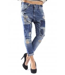 PLEASE jeans boyfriend baggy with zip patches + rips P38GBQ2UW DENIM NEW
