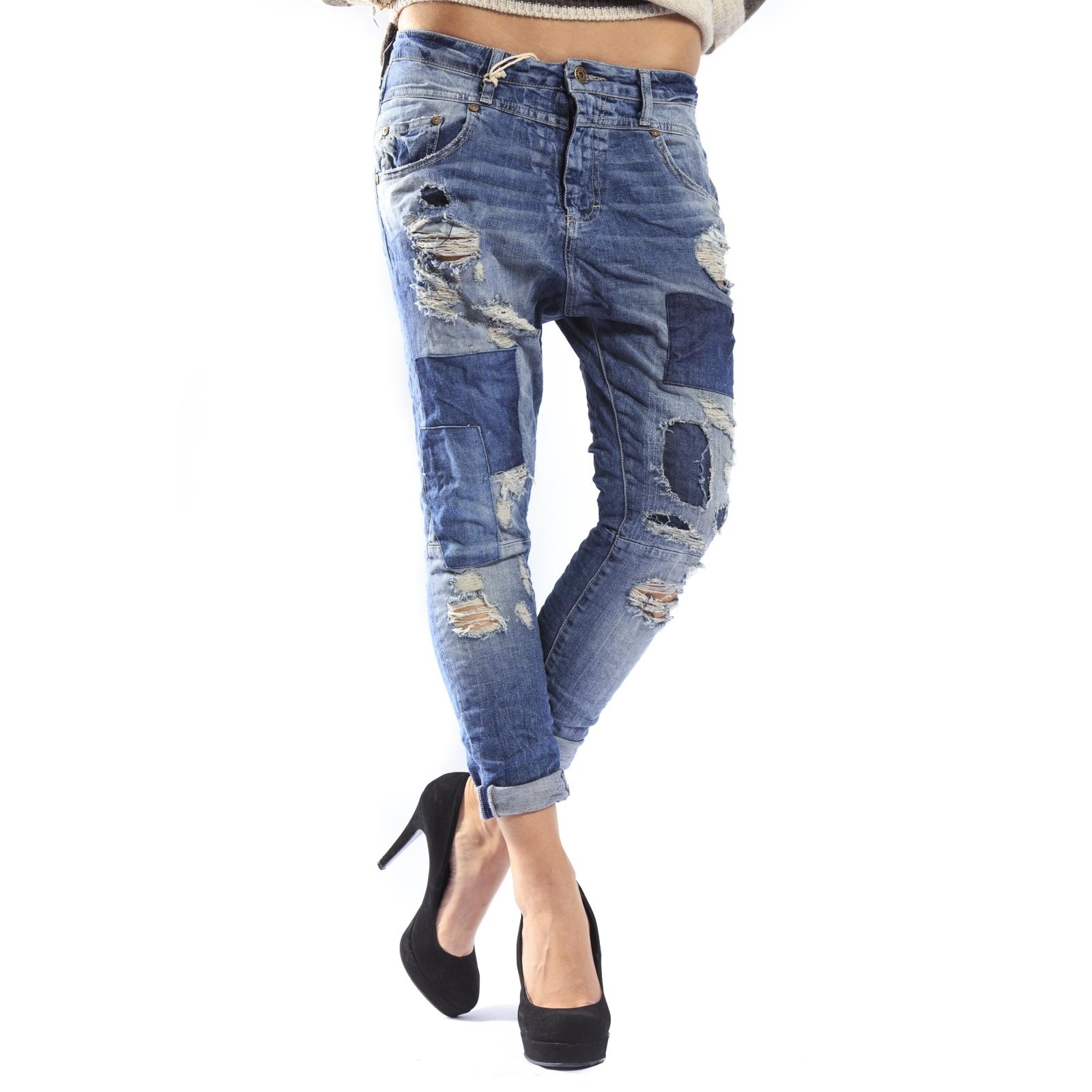 noukkia 100% aito uusin PLEASE jeans boyfriend baggy with zip patches + rips P38GBQ2UW DENIM NEW