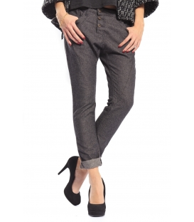PLEASE jeans boyfriend baggy 3 buttons GRIGIO with wool P78AED0LZ NEW