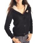 ALCOTT Sweatshirt with hood and fur inside BLACK