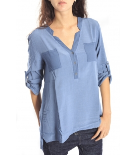 SUSY MIX BLOUSE with buttons LIGHT BLUE Art. 44486 FALL/WINTER 14-15