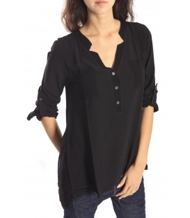 SUSY MIX BLOUSE with buttons BLACK Art. 44486 FALL/WINTER 14-15