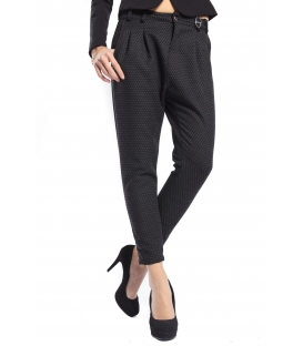 IMPERIAL Pants boyfriend baggy in wool GREY/BLACK P41873028 NEW