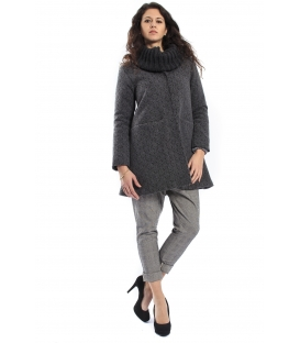 PLEASE Cappotto coat in wool with detachable neck GREY J908H204 NEW