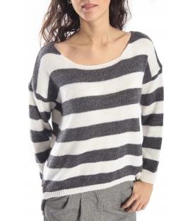 PLEASE Maxi maglia sweater with stripes ANTRACITE/PANNA M37008000 NEW