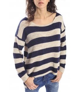 PLEASE Maxi maglia sweater with stripes DENIM M37008000 NEW