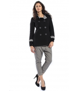 PLEASE Cappotto coat with buttons BLACK V46920044 NEW
