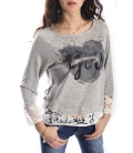 MARYLEY Sweatshirt with lace REY/ECRU art. 5EB849 SPRING 2015 MADE IN ITALY