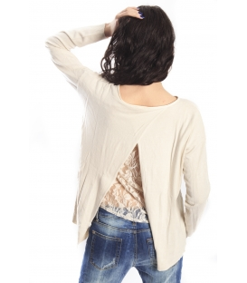 SLIDE OF LIFE Jersey with lace CREAM NEW COLLECTION SPRING 2015