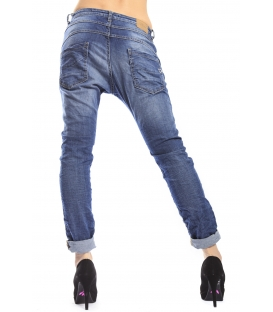 PLEASE jeans boyfriend baggy 3 buttons DENIM + 3D P78 DENIM
