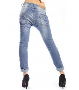 PLEASE jeans boyfriend baggy 3 buttons with rips P78ACO0BO DENIM NEW