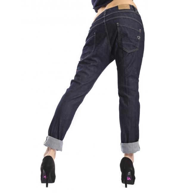 PLEASE jeans boyfriend baggy 3 buttons DARK DENIM + 3D P78DARKDENIM