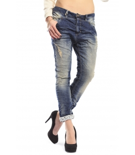 PLEASE jeans boyfriend baggy with zip and rips DENIM P32EBQ2WZ