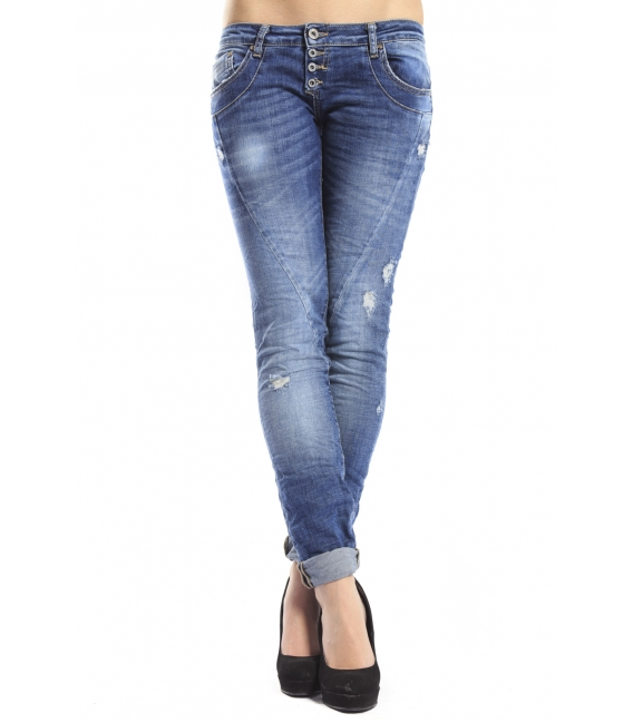 PLEASE Jeans slim fit 4 buttons with rips P68CBQ2W45 NEW